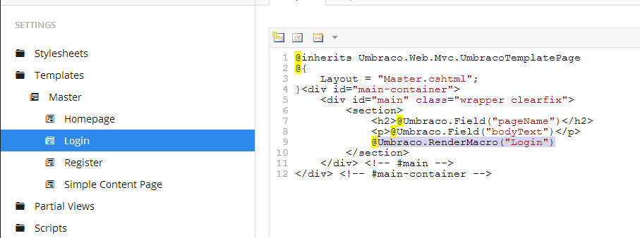 Umbraco v7 members area with protected content without coding login macro on the login template pronofoot35fo Images