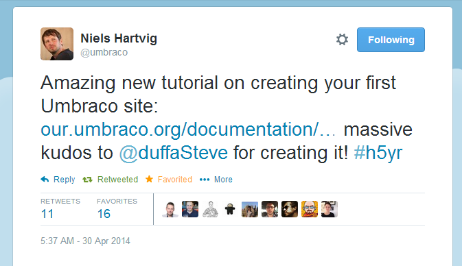 Niels Hartvig of Umbraco tweets the go-live of my documentation!