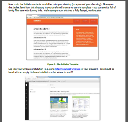Screen Shot of PDF Umbraco Manual - creating websites from flat HTML!