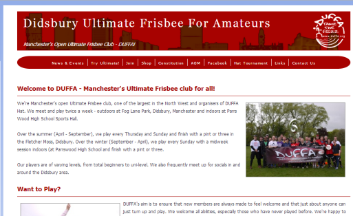 Didsbury Ultimate Frisbee For Amateurs - fully responsive site for our club and the registration pages for our annual Hat Tournament - taking payments of over £10k in 1 hour.