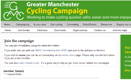 Greater Manchester Cycling Campaign - built the membership registration and payment pages
