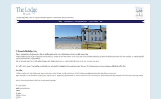 The Lodge - Islay - a Fully Responsive, fluid site for an Islay Holiday Cottage
